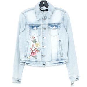 NWT JOUJOU Jacket Jean Embroidered Floral Large AE